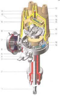 1 - валик; 2 - корпус датчика-распределителя зажигания; 3 - защелка;4 - бесконтактный датчик;5 - корпус вакуумного...